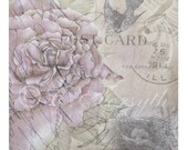 Rose Nest Bird Swallow Framable Altered Art Card