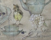 WHIMSICAL baby bird tea time antique post card
