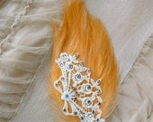 SUPER SALE Peach Feather Hair Clip Ivory Lace Lilac Swarovski Pin Up Feminine