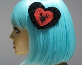 SUPER SALE Spider Hair Clip Black Vinyl Heart Red Hot Pink Spooky Rockabilly Goth Pin Up Punk