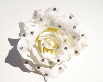 White Rose Hair Flower Pin Up Flower Swarovski Burlesque Pretty Hair Flower
