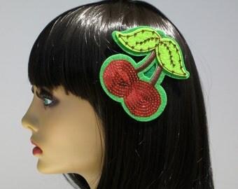 SALE Cherry Hair Clip, Pin Up Hair Clip, Swarovski Hair Clip, Summer Hair Clip, Sequin Hair Clip