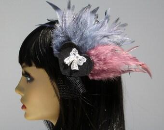 SUPER SALE - Feather Fascinator Black Heart Hair Clip Pin Up Rockabilly Burlesque Dramatic