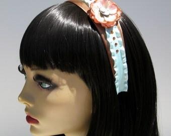 Cameo Headband Ruffled Orange Flower Lolita Pin Up Girly