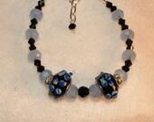 Bracelet, Pandora Style Beads, and Czech Glass Beads, Black and Blue