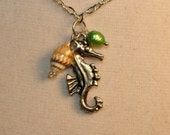 Necklace, Sea Horse Pendant With Genuine Small Seashell, and A Green Freshwater Pearl