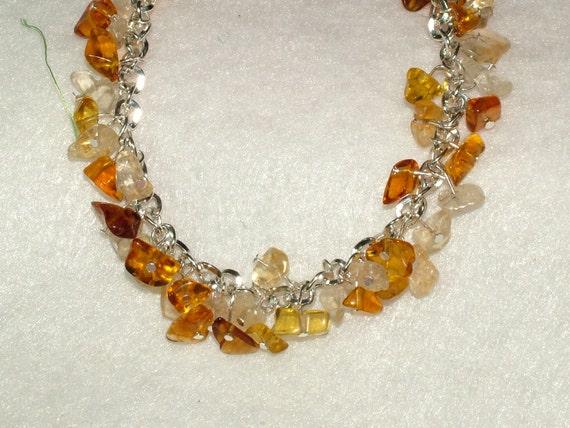 SALE Amber and Citrine Gemstone Charm/Cha Cha Bracelet