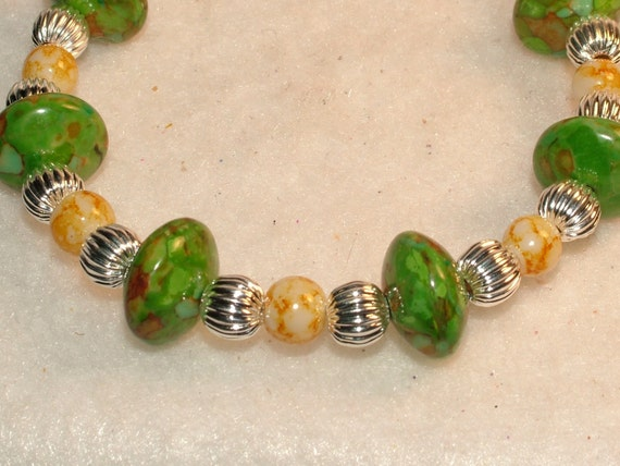 Beaded Bracelet with Green Turquoise Rondelles, Speckled Yellow Glass Beads