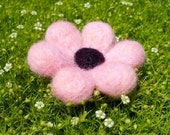 Sweet Pink Flower - Felted Wool Brooch