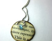 Lovely, Book page necklace, literary necklace, Book jewelry, paper bead, Reader's Digest
