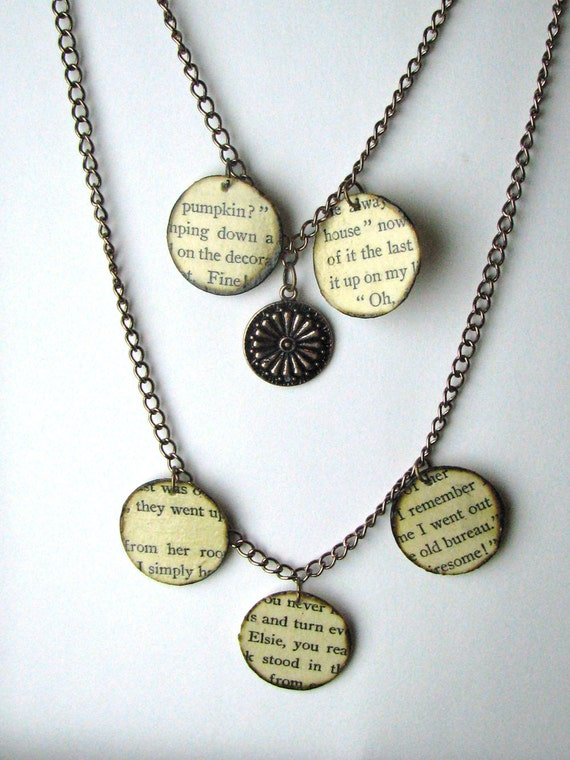 Book page necklace, literary necklace, Book jewelry, paper bead