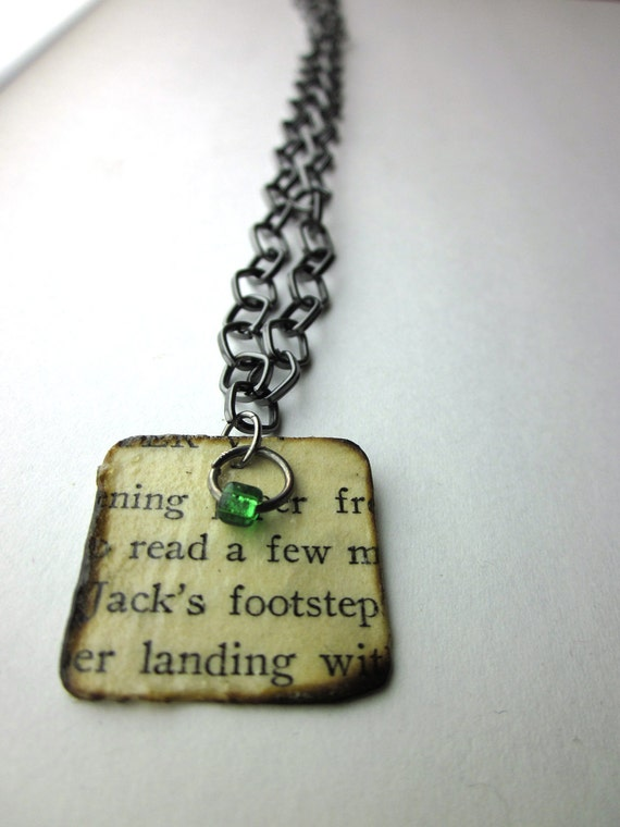 Read A Few, Book page necklace, literary necklace, Book jewelry, paper bead, The Honor Girl