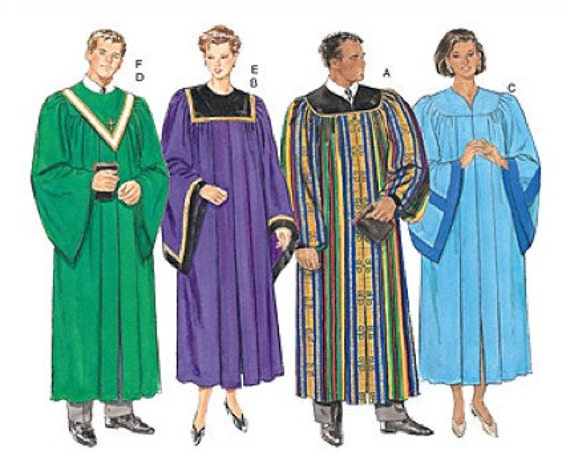 Choir Robe Sewing Pattern Unisex Graduation Clergy Robes And