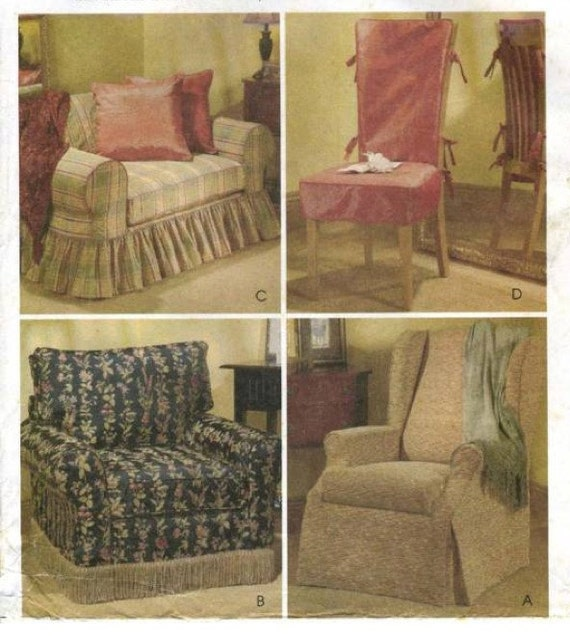 Chair Cover Sewing Pattern Loveseat Wingback Club Dining