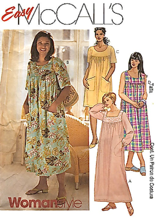Plus Size Dress Sewing Pattern Womens Muu Muu Lounge