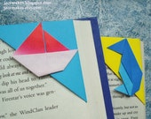 PROMOTION ... Origami Corner Bookmarks - Red Sails, Penguin