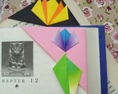 Origami Corner Bookmarks - Purple Tulip, Yellow Lotus
