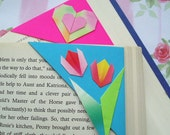 Origami Corner Bookmarks - Sweet Blossoms, Pink Heart