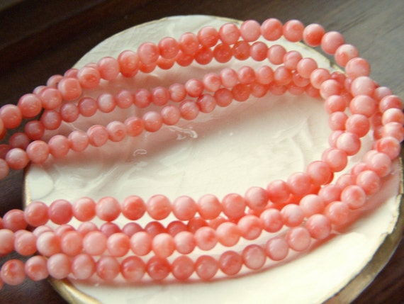 Super RARE - Vintage Untreated Angel Skin Coral Beads - 5mm - 1/4 Strand