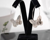 Reserved for Sybille - Butterfly Silver Hoops Earrings - 3D Butterflies on a pair of Silver Hoops