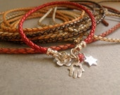 Red Leather  Charm Bracelet with Silver Charms Hamsa Silver Cahrm Butterfly Silver Charm