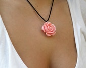 Romantic Pink Coral Rose Pendant on a Black Satin Cord  - Romance