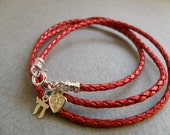 Charm Bracelet - Red Braided Leather Bracelet with Silver Charms