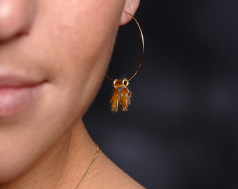 Gold Filled Hoops, Gift for Mother, Proud Mother's Earrings for Mothers and Grandmothers,Personal Gift