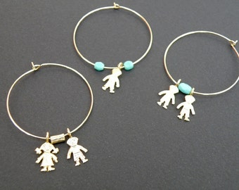 Gold filled Hoops with child charms - Gift for Mother - Proud Mother's Earrings for Mothers and Grandmothers