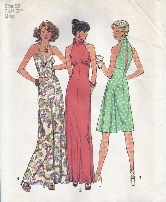 Vintage Simplicity 6510 Halter Dress Size 12 Bust 34