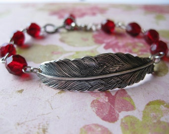 Quill - Antiqued Silver Feather and Ruby Red Bracelet