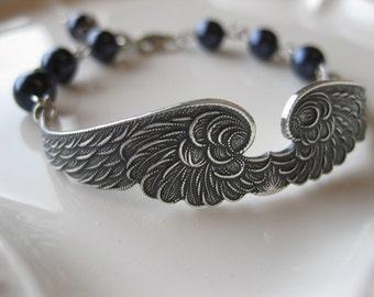 Heavenly - Antiqued Silver, Blue Swarovski Pearl Bracelet
