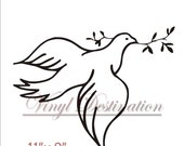 Vinyl Wall Decal Dove With Olive Branch