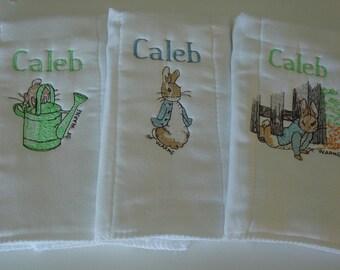 Personalized Beatrix Potters Peter Rabbit burp cloths