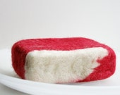 Red and White Felted Handmade Soap Bar - Natural Soap Bar - Felted Soap