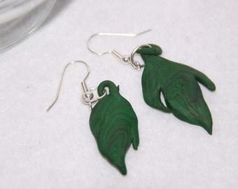 Polymer clay handmade earrings green leaves