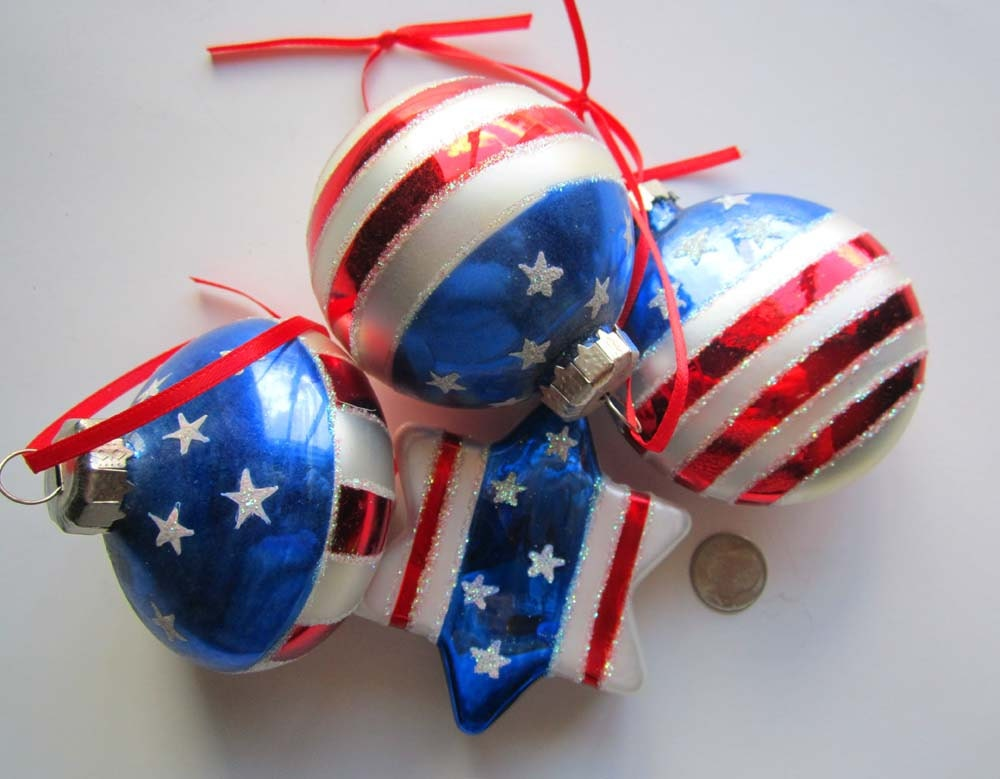 Patriotic Ornaments Red White Blue Glass Stars & Stripes