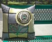 PILLOW Cover Vintage Patchwork Pillow yellow pillow black pillow patchwork pillow
