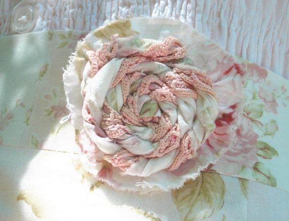 WOMENS HALF APRON shabby chic handmade cotton rose pink cream green ruffle