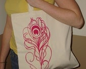 Peacock Feather Canvas Tote - LAST ONE - ON SALE