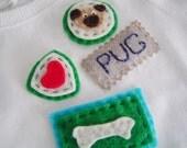 Linda Dearie Pug Scout Dog Felt Applique Baby Tee Shirt 12M