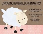 Little Lamb Birthday Invitation or Baby Shower Invitation 5x7 You Print