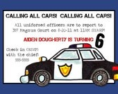 Police Car Birthday Invitation -- 5x7 Digital Print