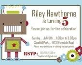 ROBOT Birthday Invitation -- 5x7 Digital File -- PIY Print It Yourself