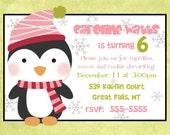 Penguin Birthday Party Invitation -- Winter Penguin Birthday Party -- DIY Printable 5x7 Digital File