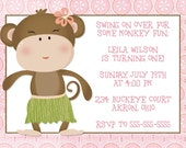 Tropical Monkey Birthday Invitation Design For Girls 5x7 You Print