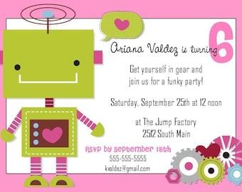 Robot Girl Birthday Invitation -- 5x7 Digital File -- Print at Your Local Photo Lab