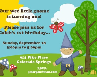 Gnome Birthday Party Invitation -- Boy Version and Girl Version
