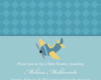 Baby Shower Invitation or Adoption Shower Invitation  -- Airplane -- 5x7 Printable Digital File