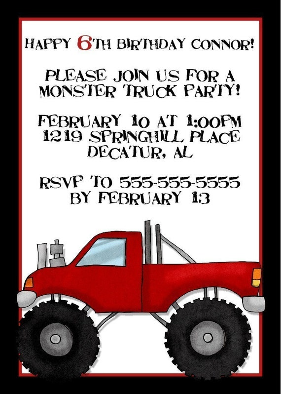 Monster Truck Birthday Invitation -- 5x7 Digital File -- Print at Your Local Photo Lab
